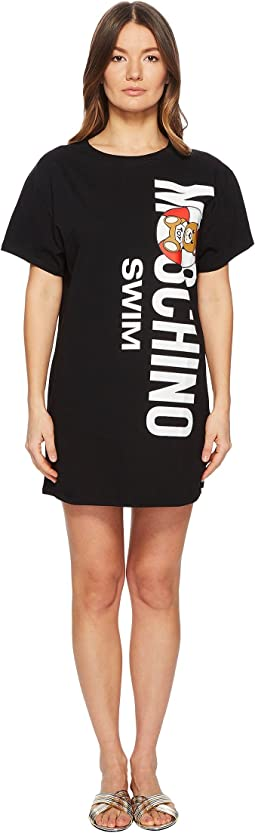 Life Vest Teddy Cotton Maxi T-Shirt Cover-Up. Moschino