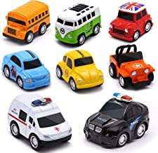 Metal Pull Back Cars, Up Grade 8 Pack Kids Die-cast Alloy Toy Vehicles Friction Powered Toy Monster Trucks Buses for Toddlers & Boys, Pull Back Cars for Aged 3-14 Year Old Children