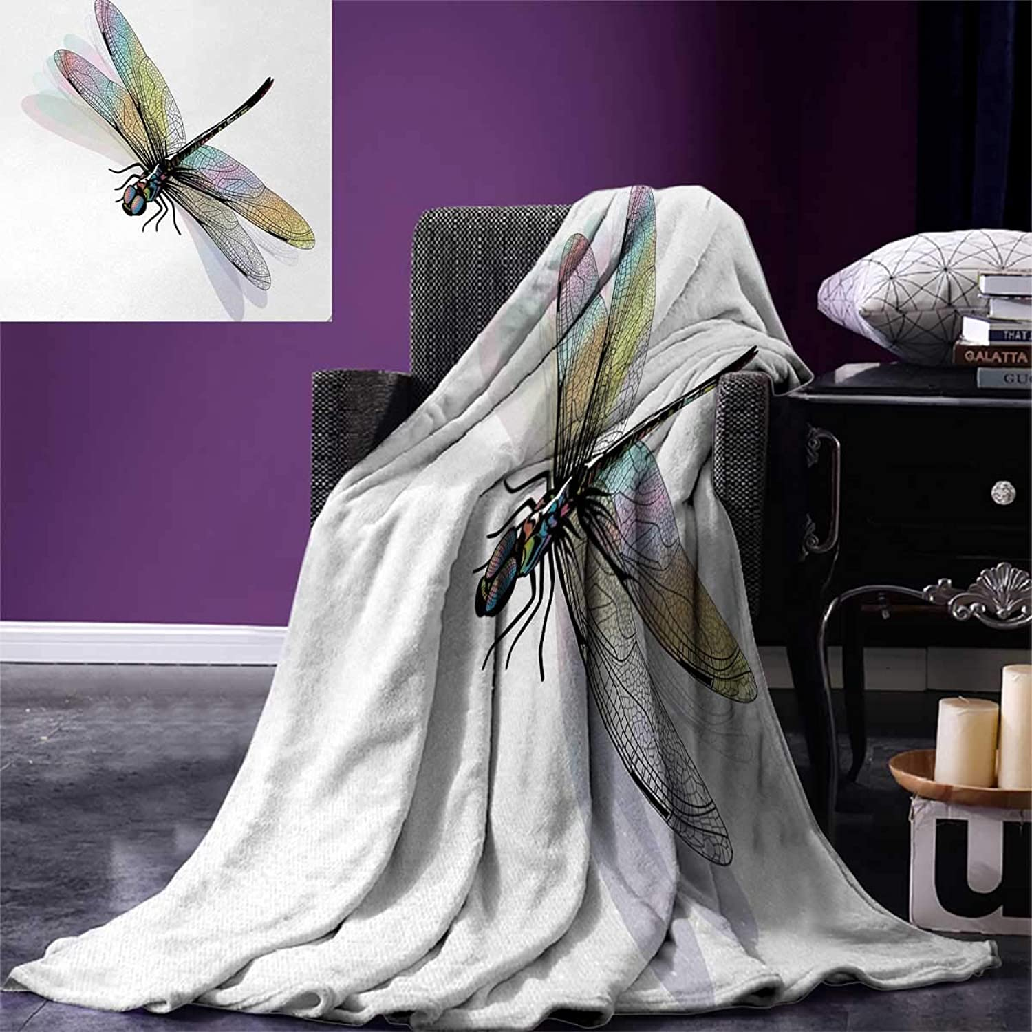 Anniutwo Dragonfly King Flannel Blanket Shady Dragonfly Pattern Ornate Lace Style Spiritual Beauty Wings Design Weave Pattern Extra Long Blanket 90 x108  Multicolor
