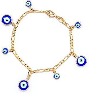 JEWELRY PARADISE Women's 14k Gold Filled Plated Two Tones Blue Turkish Evil Eye Charms Bracelet for Envy Protection Attracts Good Luck Energy Success Abundance Nazar Ojo Turco Azul Pulso Suerte