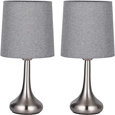 HAITRAL Bedside Table Lamps - Modern Table Lamp Set of 2, Small Desk Lamp Set with Fabric Shade for Bedroom, Office, College Dorm, Girls Room, Ideal Gifts - Gray (HT-TH114-15X2)