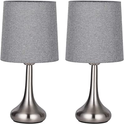 Table Lamp with White Fabric Shade