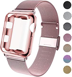 GBPOOT Compatible for Apple Watch Band 38mm 40mm 42mm 44mm with Screen Protector Case, Sports Wristband Strap Replacement Band with Protective Case for Iwatch Series 5/4/3/2/1