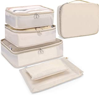 Endim Luggage Packing Organizers Packing Cubes Set for Travel (Beige, 6 Set Packing Cubes)