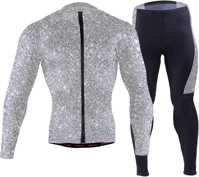 Herren Langarm Radsportbekleidung Set Atmungsaktiv Schnell Trocknend Mountainbike Anzug Kleidung mit Silber Glitter Muster