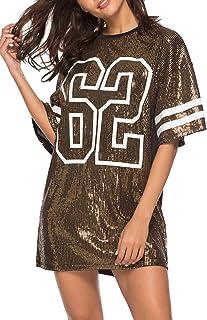 Vestidos Mujer Camiseta Vestido Casual Lentejuelas Verano Vestido Manga Corta Club Mini Vestidos de Fiesta