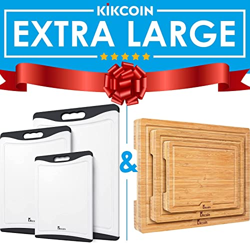 popular Extra Large Cutting Board Black (Set of 3) and Bamboo Cutting Board, (Set of 3) Heavy Duty Kitchen Chopping Board 2021 with Juice Groove Wood lowest Butcher Block by Kikcoin outlet online sale