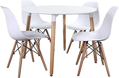Noorsk Design Conjunto Mesa 100 + 4 sillas Tower (Sillas Blancas ...