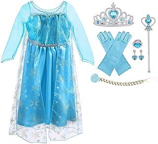 URAQT Vestido de Elsa, Disfraz de Elsa con Accesorios de Cosplay, Vestido de Princesa para Niñas con Capa de Copos de Niev...