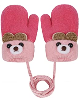 IPENNY Boys Girls Neck Hang String Mittens Cute Cartoon Bear Design Gloves Winter Thick Fleece Lined Mittens Knit Gloves Full Finger Warm Ski Gloves Cold Weather Outdoor Hand Warmer for Kids 0 to 3Y
