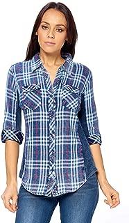 Ci Sono Women's Slimming Contrast Blue Plaid 3/4 Sleeve Button Down Cotton Shirt
