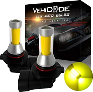 VehiCode Super Bright 2000 Lumens 9006 HB4 (3000K Gold Yellow) LED Fog Light Bulbs/DRL Conversion Kit - High Power COB - 360 Degree w/Projector Fanless Plug-N-Play Replacement (2 Pack)