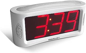 Travelwey LED Digital Alarm Clock - No Frills Simple Operation, Large Night Light, Alarm, Snooze, Brightness Dimmer, Big Red Digit Display (White)