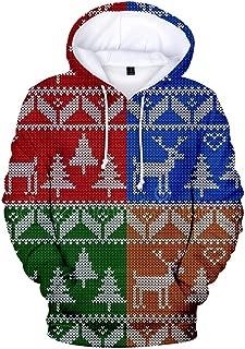 Holzkary Unisex Cool Printed Sweatshirts Casual Christmas Pocket Hoodie/Baseball Uniform