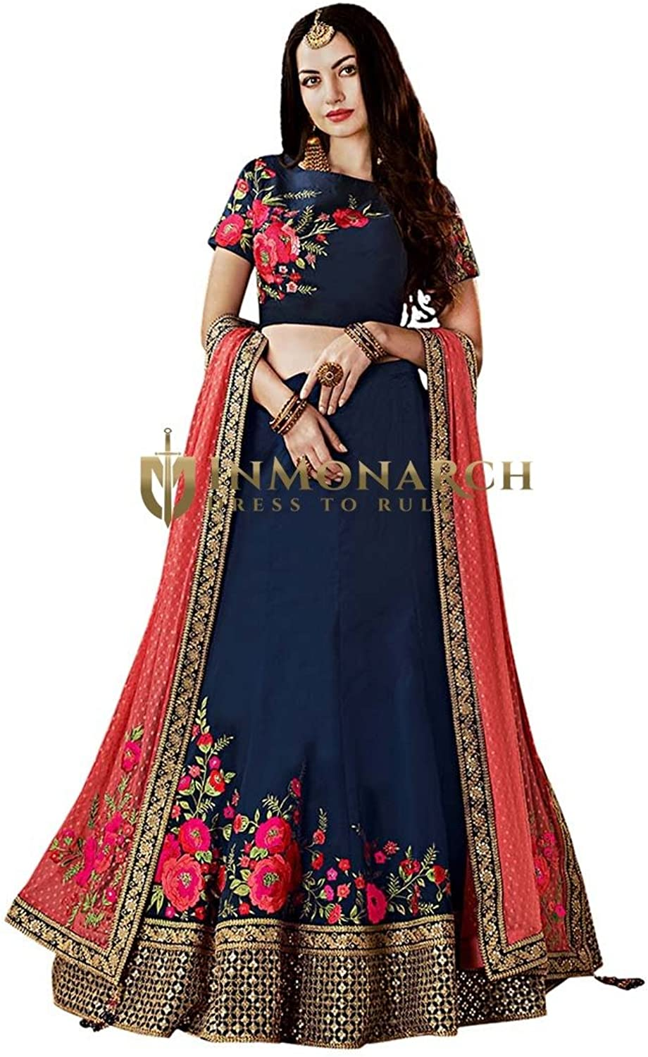 INMONARCH Dark Navy Taffeta Silk Wedding Lehenga Choli LSR7411