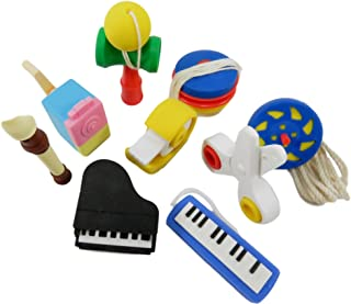 Daiso Mini Japanese Puzzle Erasers Kids Musical Instruments Toys Arts-n-Crafts (9 Piece Set)