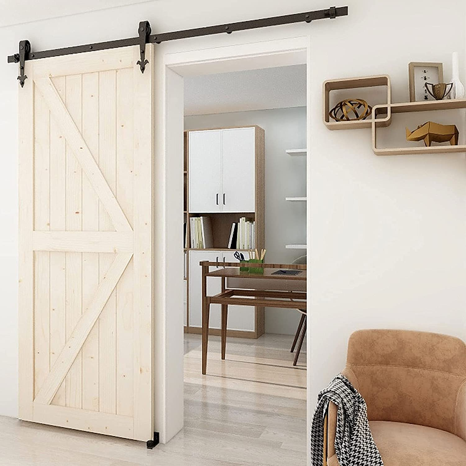 Max 67% OFF 5.5FT Heavy Duty Over item handling Sliding Barn Door Hardware and Kit Smoothly Qu