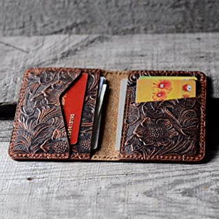 Handmade Distressed Men's Minimalist Leather Wallet Card Holder Wallets for Gifts Brown Flower