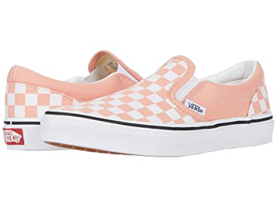 Vans Kids Classic Slip-On (Little Kid) ((Checkerboard) Salmon/True White) Girls Shoes