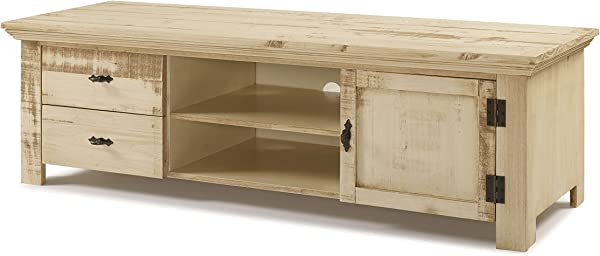 The Beach House Design Reclaimed Collection 59 TV Stand Solid Wood Distressed Old White