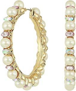 Blue by Betsey Johnson Pearl and Gold Tone Hoop Earrings