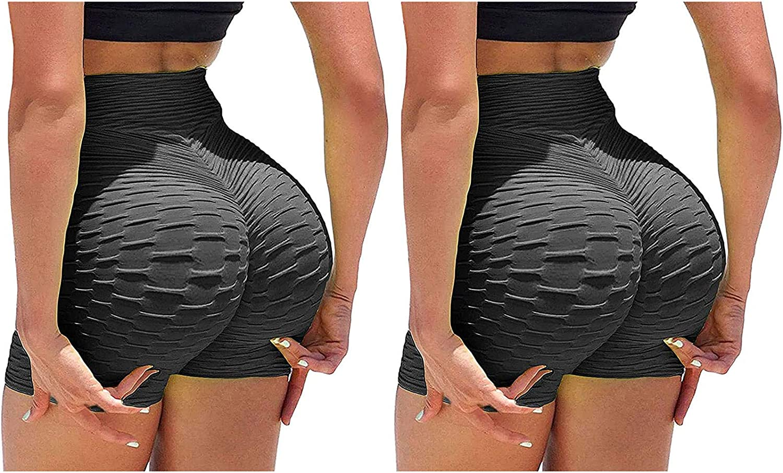 2 Pack TIK Tok Shorts,Women Sports Booty Shorts High Waisted Bubble Textured Scrunch Butt Lifting Gym Workout Hot Pants