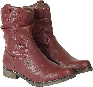 Flat n Heels Womens Maroon Boots FnH 7188-F1-MRN