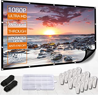 New Projector Screen with Back Backing,Etercycle 4K HD 1080P Portable Anti-Light Through Movie Screen for Home Indoor Backyard Theater,No Crease,Easy to Clean,1.1Gain,160° Viewing Angle,Upgrade Hook