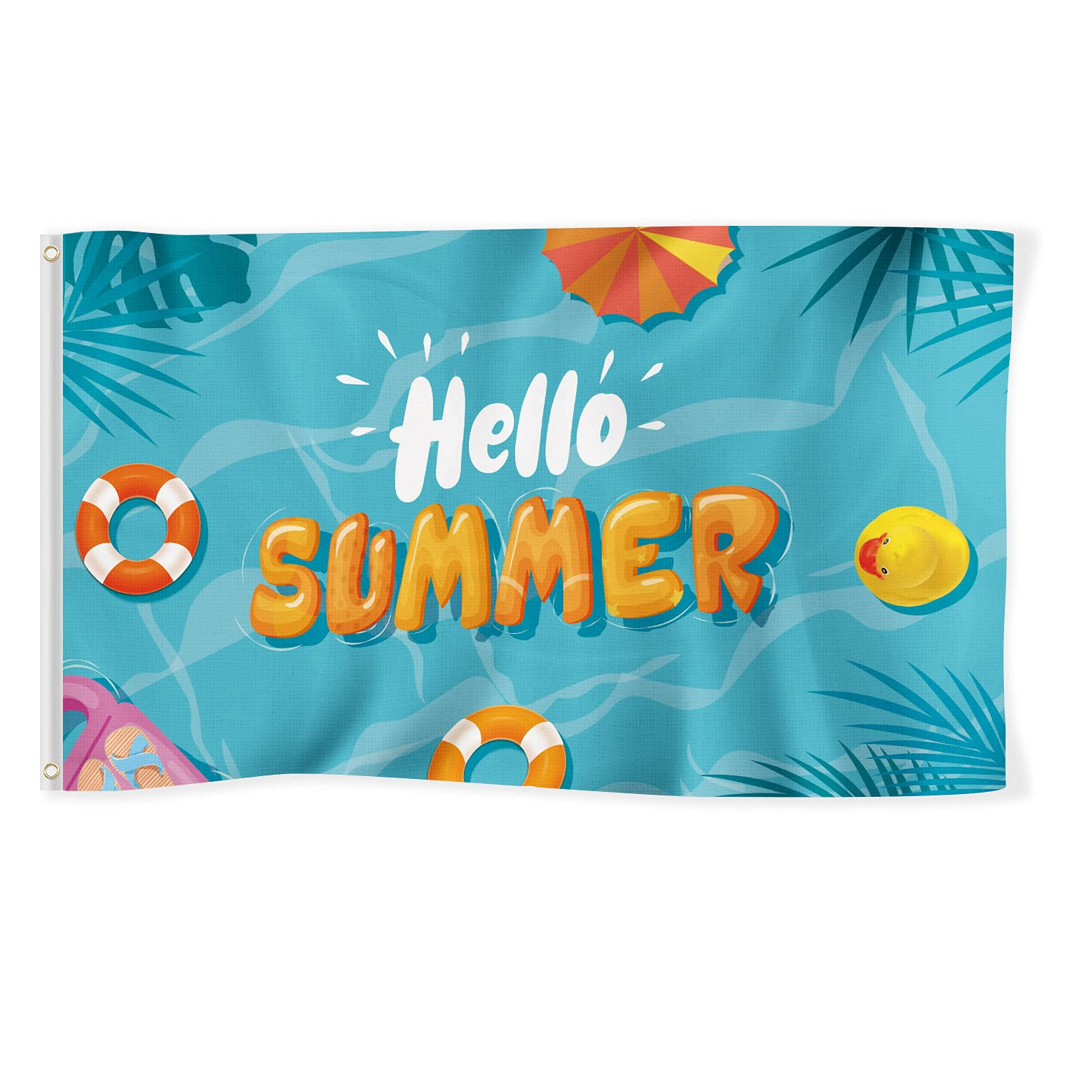 Hello Summer Flag 3x5 Ft Banner Decorations Swimming Pool Duck Swim Ring Yard Sign Party Supplies Holiday Decoration Cool Funny Flags Welcome Double Stitched with Brass Grommets House Outdoor Garden Dorm Room Farmhouse Wall Door Travel Man Cave Indoor (Blue)