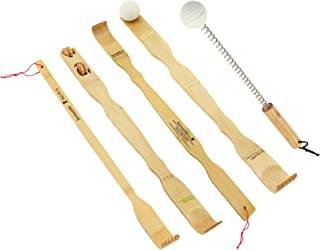 BambooMN 5 Piece Set - 5X Traditional Back Scratcher and Body Relaxation Massager Set for Itching Relief, 100% Natural Bamboo
