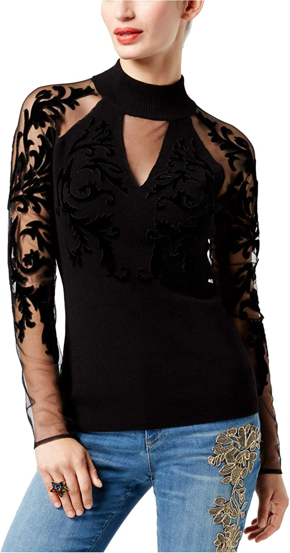 INC Womens FlockedVelvet Illusion Knit Sweater