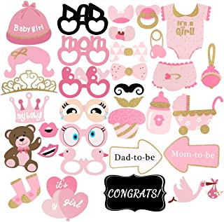 Unomor 33Pcs Pink and Gold Girls Baby Shower Photo Booth Props for Baby Shower Decorations