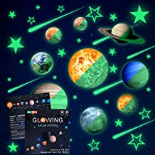 Glow in The Dark Stars and Planets, Bright Solar System Wall Stickers -Sun Earth Mars,Stars,Shooting Stars and so on,9 Glowing Ceiling Decals for Bedroom Living Room,Shining Space Decoration for Kids