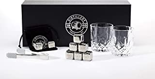 Whiskey Stones – Stainless Steel Reusable Ice Cubes – Chilling Stones for Whisky & Wine – Includes Velvet Carrying Pouch, Plastic Tray and Tongs – Set of 8 – Elegant & Practical