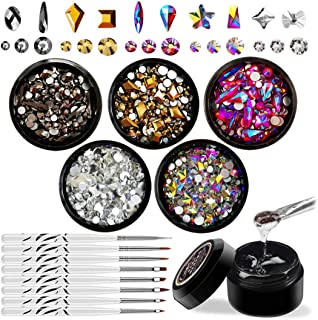 Nail Art Rhinestones Set with Glue and Tools, Mixed Flatback Crystal Rhinestones with 5 Colors and Multiple Shapes, 8ml Adhesive Resin Gel and 1Pc Dotting Pen and 7Pcs Brush Set