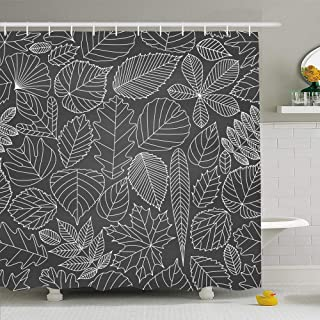 Ahawoso Shower Curtain for Bathroom 60x72 Ash 15Th August Set India Independence Day Vein Greeting Abstract Nature Autumn Black Board Botanical Waterproof Polyester Fabric Bath Decor Set with Hooks