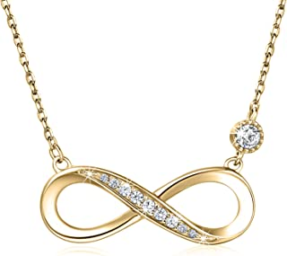 """925 Sterling Silver Necklace Forever Love"""" Infinity Heart Love Pendant White Gold Plated Diamond Women Necklace Gift for Mother's Day"""