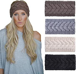 4 Pack Knit Headbands Winter Braided Headband Ear Warmer Crochet Head Wraps for Women Girls H7 (4 Color Pack G)