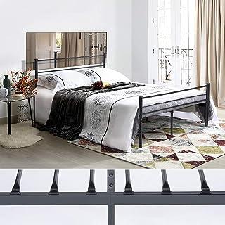 FURNITURE-R France Metal Double Bed Frame, 198x142x88.5 cm, Metal Legs and Integrated Bed Frame - Black ALT0