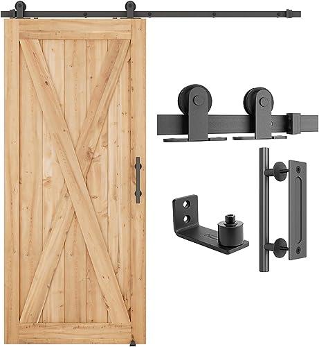 "new arrival SMARTSTANDARD 6.6 FT Top Mount Sliding Barn Door Hardware Kit Whole Set, Include 1 Pull lowest Handle wholesale & 1 Floor Guide, Fit 30"" Wide DoorPanel(T Shape Hanger) outlet sale"