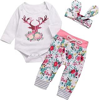 3PCs Baby Pink Reindeer Print Long Sleeves Romper Headband Pant Outfit Set