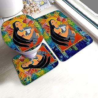 KRISMARIO Pocahontas and Meeko Bath Mat 3 Piece Set Soft Absorbent Anti-Slip Pads and Carpet Bath Mat Set, Bath Anti-Skid Pads + Toilet Lid Cover + Contour Pads Bathroom Carpet Sets