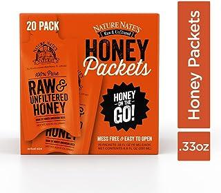 Nature Nate's 100% Pure Raw & Unfiltered Honey; 20 Count Box; Small Honey Packets in Bulk (10 mL/PKT); Enjoy Honey's Balan...