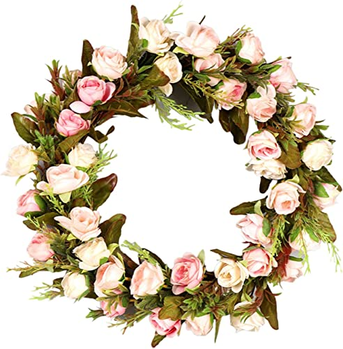 wholesale Spring Flower Wreath online sale for Front Door Peony Rose Wreath Wall Hanging Ornament Decoration Spring Summer Wreath Valentine's Day, Wedding, Wall, Home new arrival Decor,Packed in Box, 17IN outlet online sale