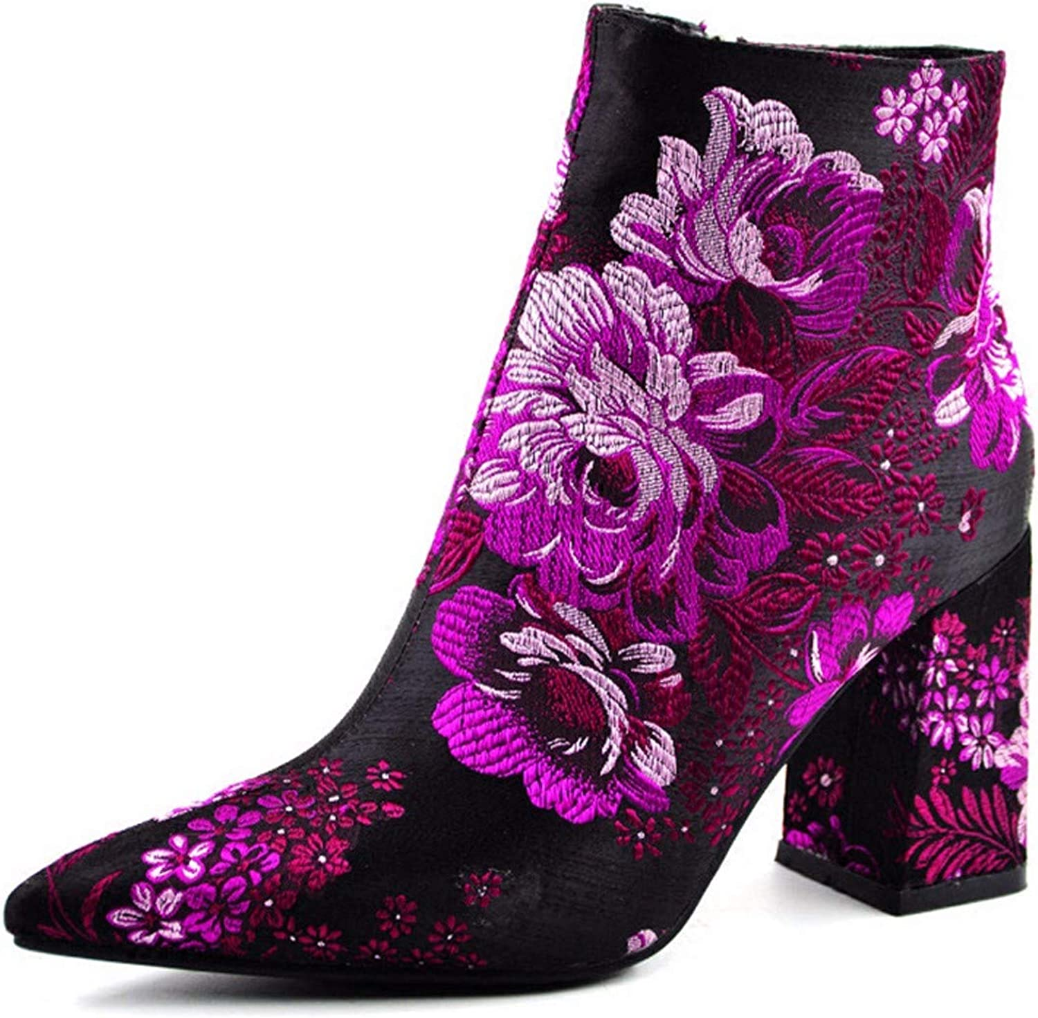 SFSYDDY Popular shoes Embroidered Boots Heel Height 9Cm Embroidery Rough Heel Round Head National Style Martin Boots Retro Everyday Cheongsam Boots Single Boot Tide