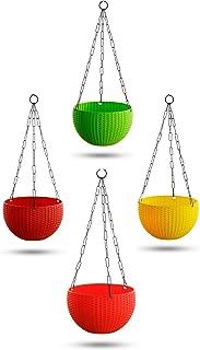 Garden Needs 100% Virgin Plastic Euro Plastic Basket | Set of 4 Hanging Planter, (22cm x 22cm x 24cm, Multicolor)