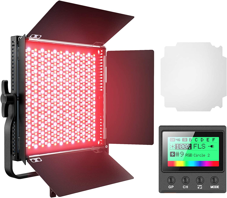 RGB Led Photography Lighting, Pixel Full Color Video Lighting Kit, 552PCS LED Beads 45W/CRI 97/2600K-10000K/9 Applicable Scenes, Led Video Light with U Bracket/Barn Door for Portrait, Video Shooting