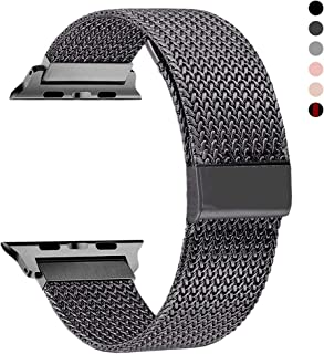 RXCOO Compatible for Apple Watch Band 38mm/40mm 42mm/44mm, Stainless Steel Mesh Wristband Loop Magnet Band Compatible with Iwatch Series 5/4/3/2/1(Gray, 42mm/44mm)