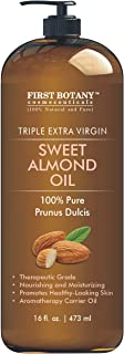 Cold Pressed Sweet Almond Oil - Triple AAA+ Grade Quality, For Hair, For Skin and For Face, 100% Pure and Natural with Pum...
