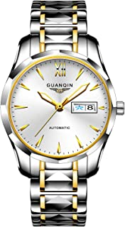 Guanqin Men Automatic Wrist Watch with Scratch-resistant Sapphire Crystal Lens Tungsten Steel Bracelet Self Winding Watches for Male Gold White